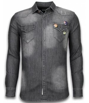 Bread & Buttons Jeanshemd Herren - Slim Fit Long Sleeve - 3 Buttons - Grau