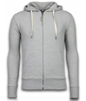 Bread & Buttons Casual Hoodie - Sweater Herren Side Zippers - Grau