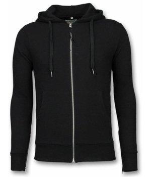Bread & Buttons Casual Hoodie - Sweater Herren Side Zippers - Schwarz