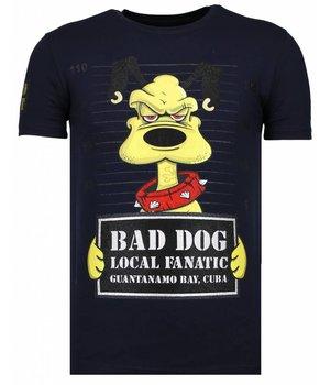 Local Fanatic Bad Dog - Strass T-shirt - Blau