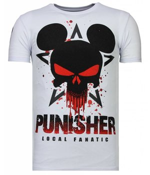 Local Fanatic Punisher Mickey - Strass T-shirt - Weiß