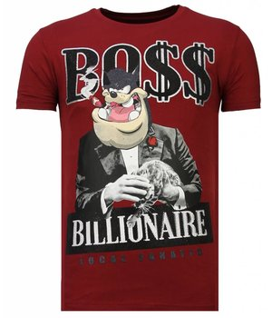 Local Fanatic Billionaire Boss - Strass T-shirt - Bordeaux