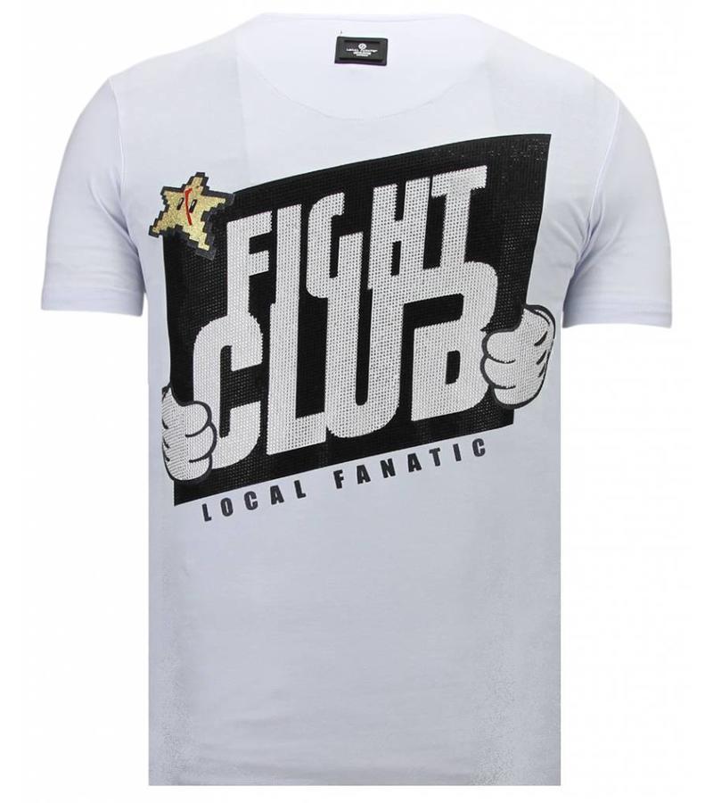 Local Fanatic Fight Club Mario - Strass T-shirt - Weiß