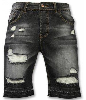Enos Kurze Hosen Herren - Slim Fit Ripped Shorts - Schwarz