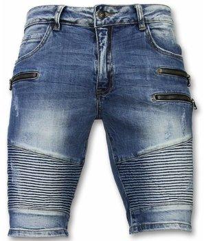 Enos Kurze Hosen Herren - Slim Fit Biker Zippers Shorts - Blau