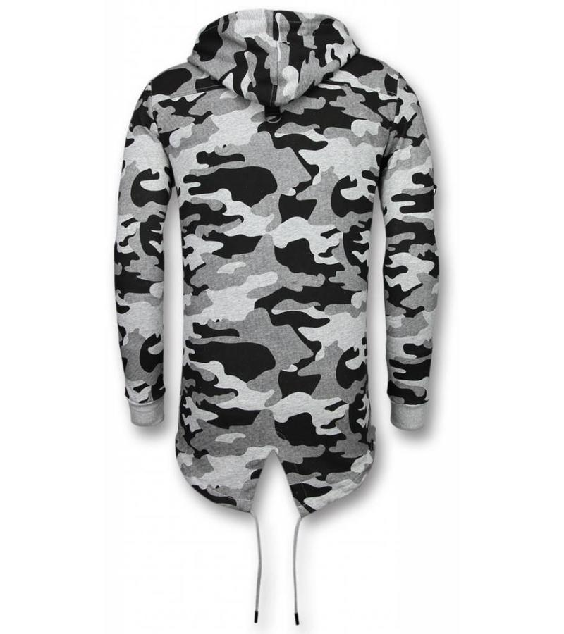Enos Lässige Sweatjacke - Long Fit Camouflage Weste - Grau