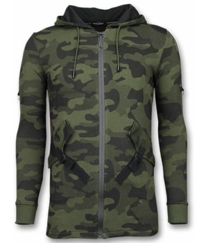 Enos Lässige Sweatjacke - Long Fit Camouflage Weste - Grün