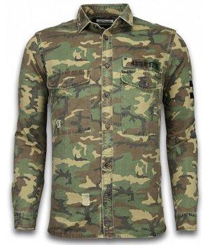 Bread & Buttons Exklusives Shirt - Slim Fit Langarm Männer - Camouflage-Muster - Grün / Braun