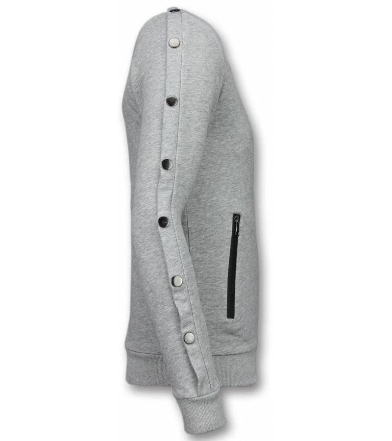 Enos Lässige Crewneck - Buttons Pullover - Grau
