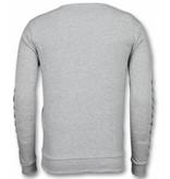 Enos Lässige Crewneck - Braided Pullover - Grau