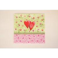 Serviette Blumen und Herzen -  für Decoupagetechniken auf Holz oder Pappmaché