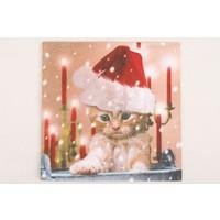 Serviette Weihnachtskatze -  für Decoupagetechniken auf Holz oder Pappmaché