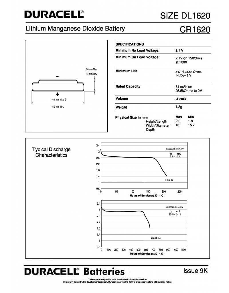 Duracell Knoopcel batterij Lithium CR1620 blister 1