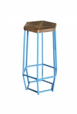 Jabulo Industrial Barhocker Hexa light blue Retro Metall Holz Shabby Vintage