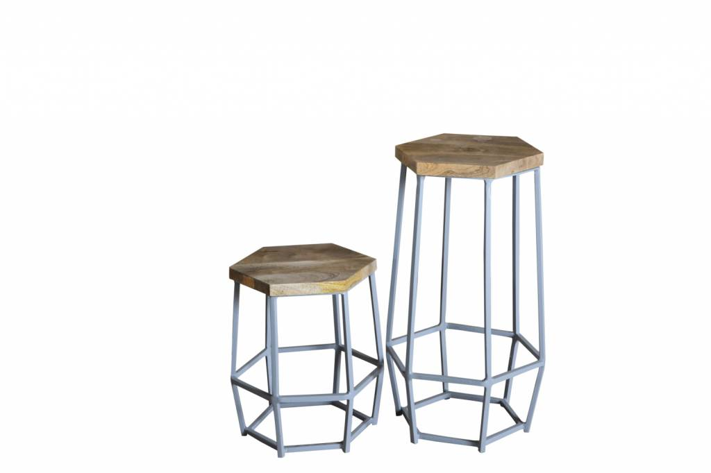 Design industrial barhocker in shabby chic farbe for Barhocker metall holz