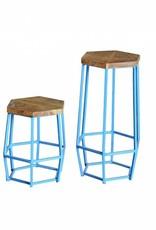 Jabulo Industrial Barhocker Hocker Hexi light blue Retro Metall Holz Vintage