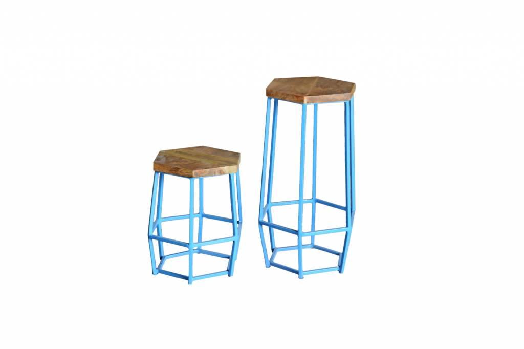 ... Jabulo Industrial Barhocker Hocker Hexi Light Blue Retro Metall Holz  Vintage
