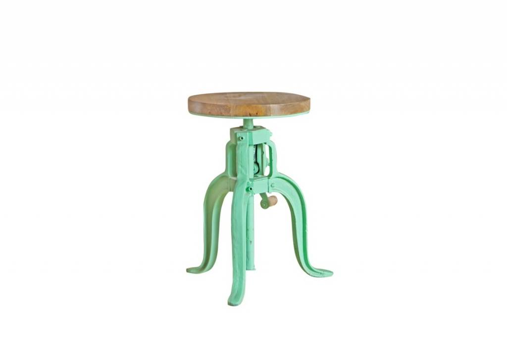 Jabulo Industrial Hocker Barhocker höhenverstellbar mit Kurbel Drehhocker Vintage retro Mint Grün
