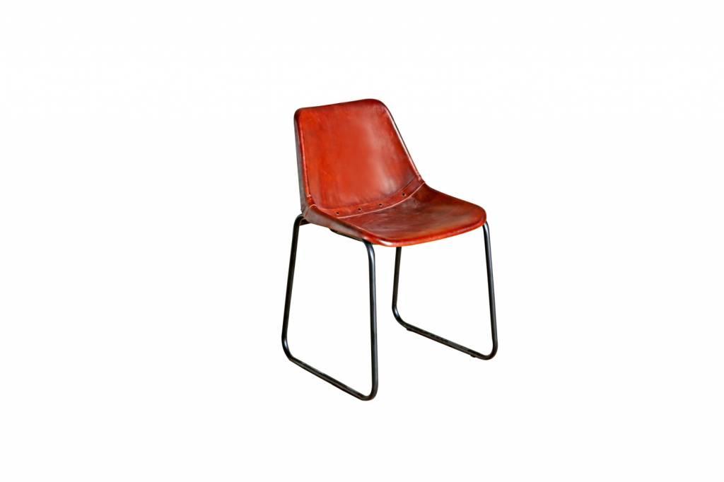 retro design lederstuhl freistehende kombination aus leder und metall. Black Bedroom Furniture Sets. Home Design Ideas