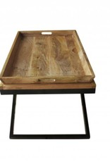 Jabulo Design Couchtisch Eisengestell Vollholzplatte Landhaus Shabby Vintage mit Tablett