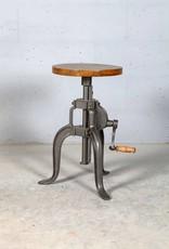 Jabulo Industrial Hocker Barhocker höhenverstellbar mit Kurbel Drehhocker Vintage retro Eisen