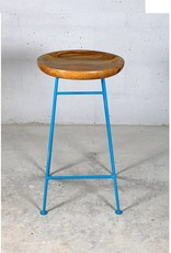 Jabulo Design Barhocker Louis Retro Metall Holz Industrial Vintage light blue