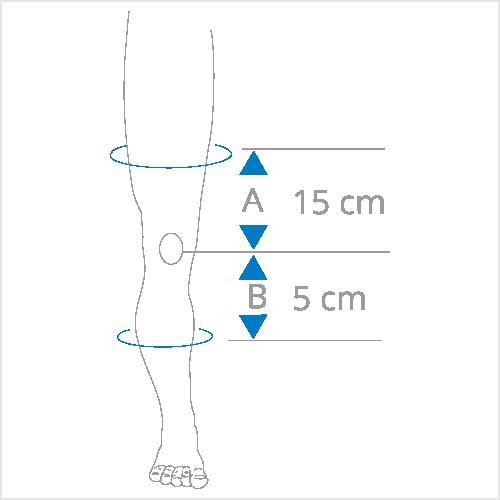 15cm boven 5cm onder knie