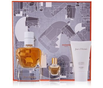 Hermes Giftset Jour D'Hermes EDP refillable 85ml + MINI EDP 7,5ml + BODY LOTION 30ml Parfum