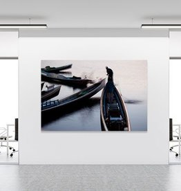 "Akustikbild mit Motiv ""BOATS IN MORNING MIST - INLAY LAKE"""