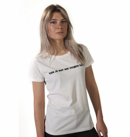 RUR T-shirt Dames WIT, Ken je dat nie horen dan?