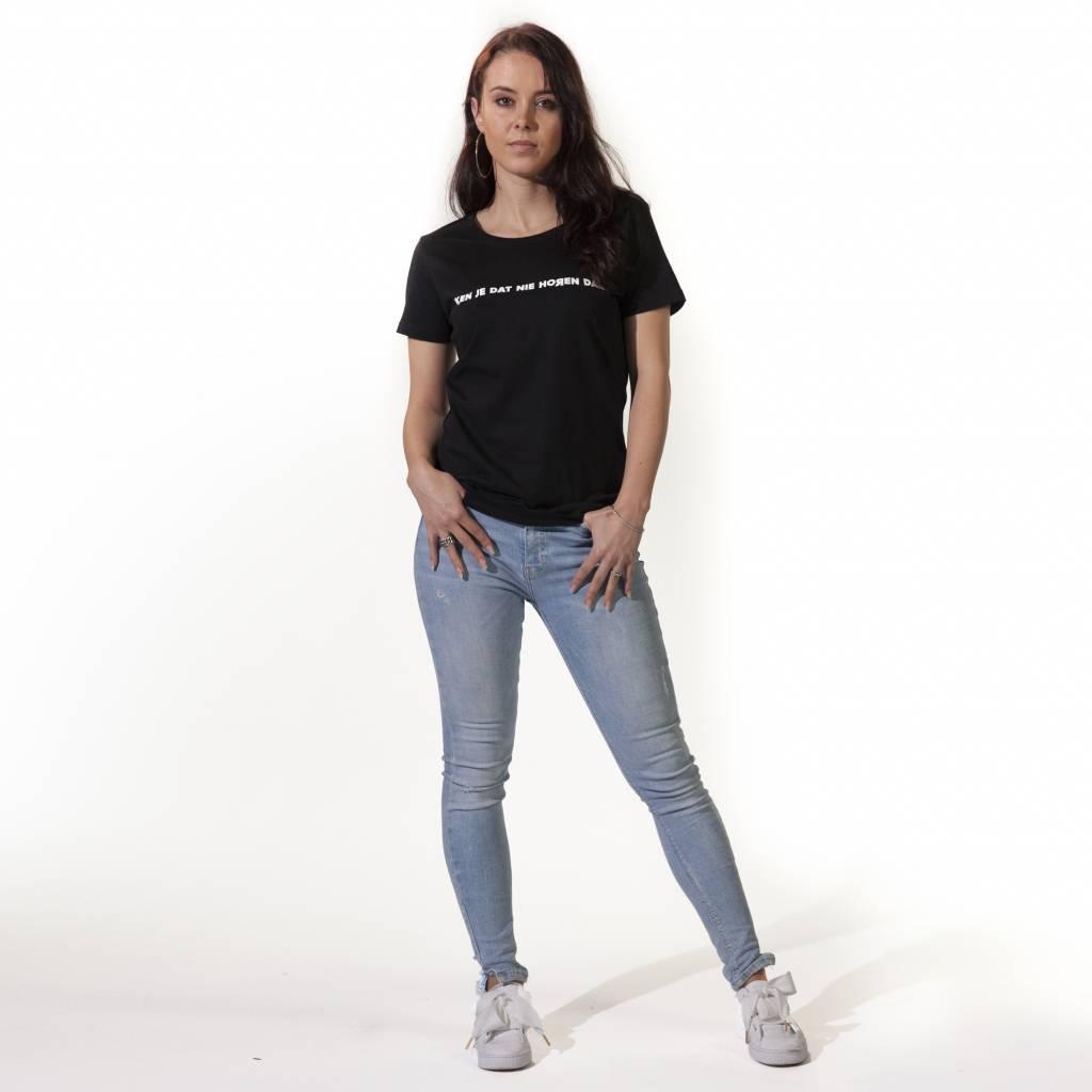 RUR T-Shirt Dames ZWART, Ken je dat nie horen dan?