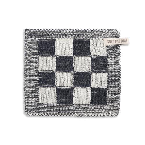 Knit Factory Gebreide Pannenlap Blok Licht Grijs
