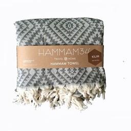 Hammam34 Hamamdoek Kilim - zwart