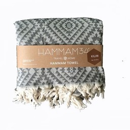 Hammam34 Hammamhanddoek * Kilim - zwart