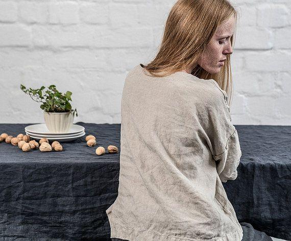 notPERFECTLINEN Table cloth linen black (3 m. x 1,38 m.)