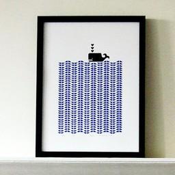 Lu West Giclée print zwarte walvis
