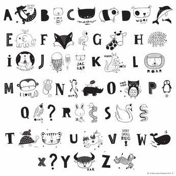 a little lovely company Woondecoratie Light Box letterset KIDS ABC Black & white