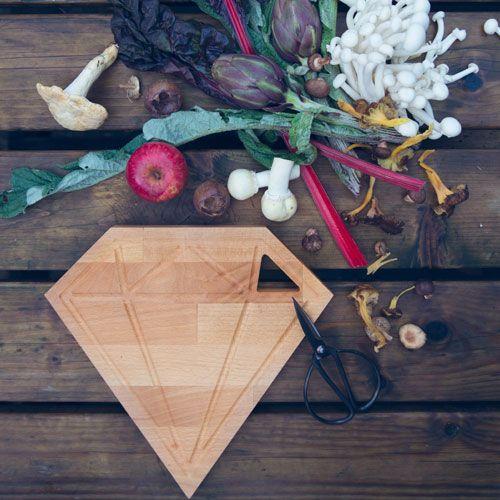 Zilverblauw * Wooden Cutting board * Diamand