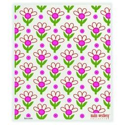 Malin Westberg Bio vaatdoek Bloemenbed rood & roze