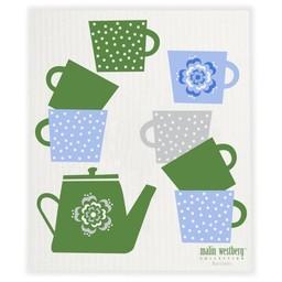 Malin Westberg Bio vaatdoek Koffie pot groen & blauw