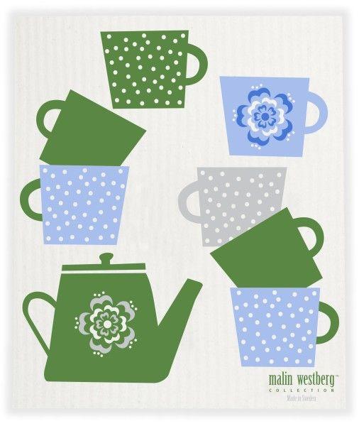 Malin Westberg Dishcloth * Coffee kettle - green & blue