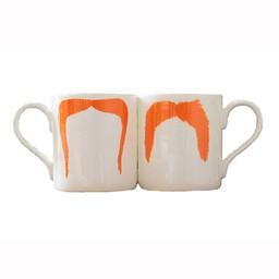 Peter Ibruegger Mug * Moustache Fu - Magnum - Orange