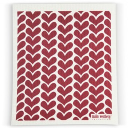 Malin Westberg Dishcloth Hearts - red