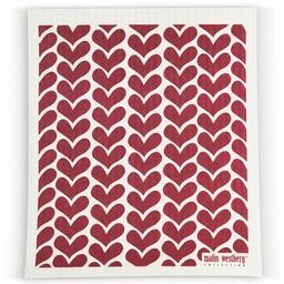 Malin Westberg Dishcloth * Hearts - red