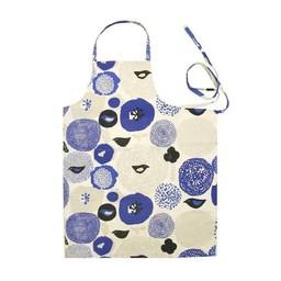 Kauniste keukenschort blauwe bloemen