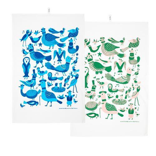 Kauniste Organic Tea towel singing birds