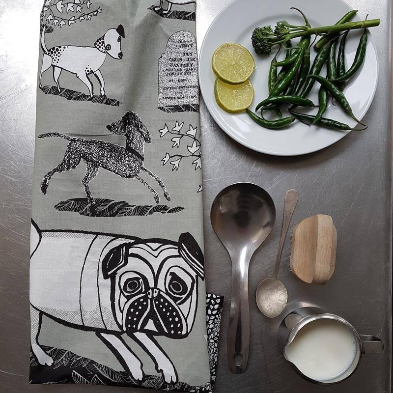 lush designs Tea towel Doggie