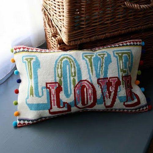 DIY borduur kussen Love