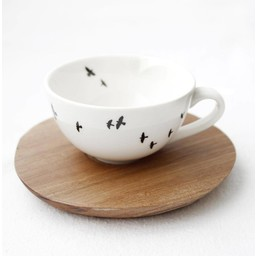 Love Milo Espresso kop en schotel Vogels