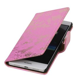 Lace Booktype Hoes voor Huawei Ascend P9 Roze